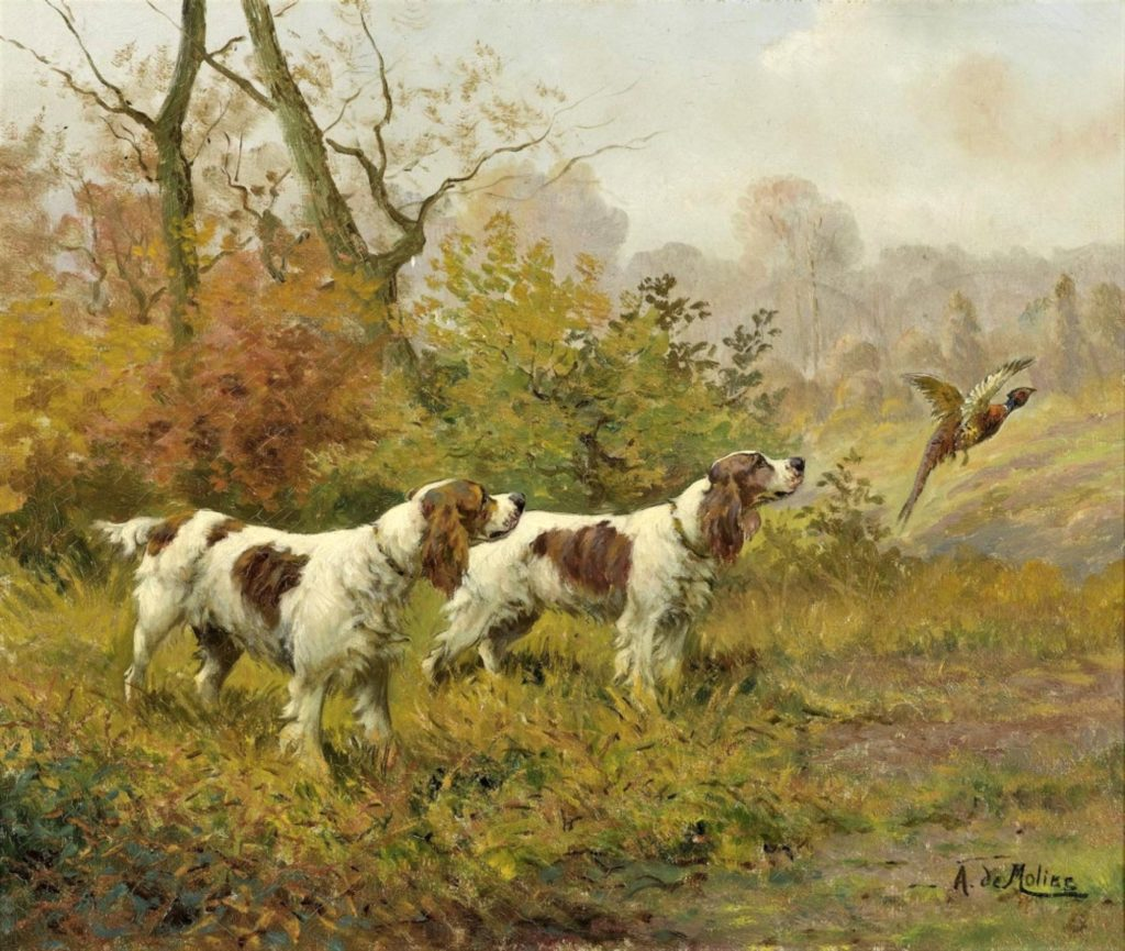 Auguste de Molins, 18xx, Dogs at pheasant chase (Hunde auf Fasanenjagd), 46x55, Swiss Gallery