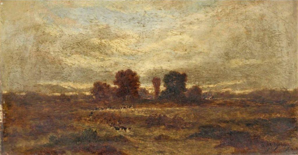 Auguste de Molins, 18xx, Scène de chasse à courre, 15x30, A2014/11/14