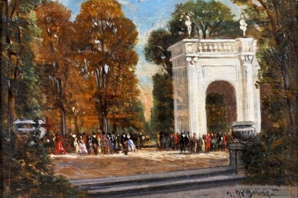 Auguste de Molins, 18xx, people at the park entrance, oil on wood, 10x15, A2013/12/17