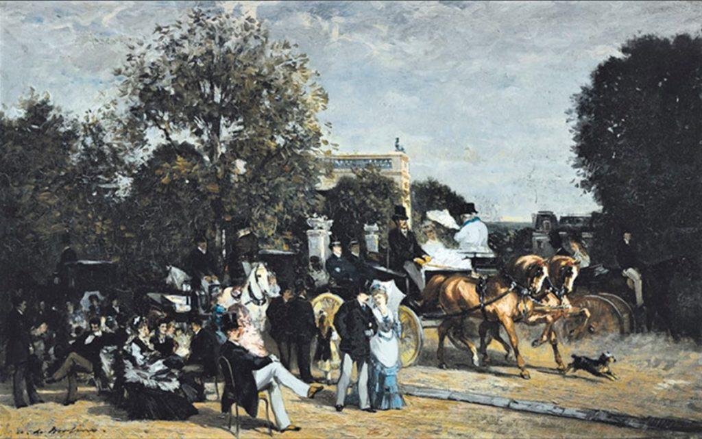 Auguste de Molins, 18xx, the walk in the Bois du Boulogne, (a day in the park), 36x55, A2010/06/22 (aR9;iR41;iR89;iR10). Compare: T1877-195 Promenade dans le parc (iR1).
