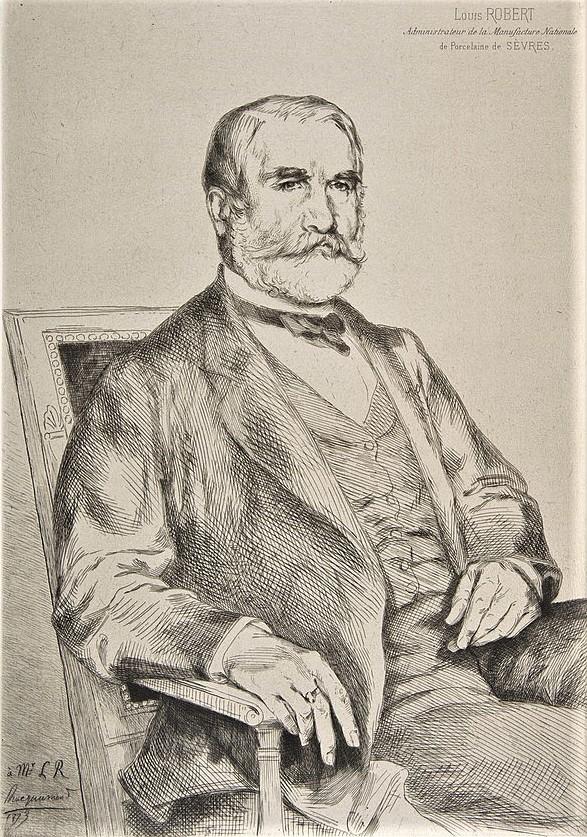 Félix Bracquemond, 1IE-1874-24-1, portrait de M Robert. Now: 1873, B94-4, Portrait of Louis Robert, administrateur de Sèvres, etch, 34x24, Metropolitan (iR6;R2,p119;R90II,p15R85,no94)