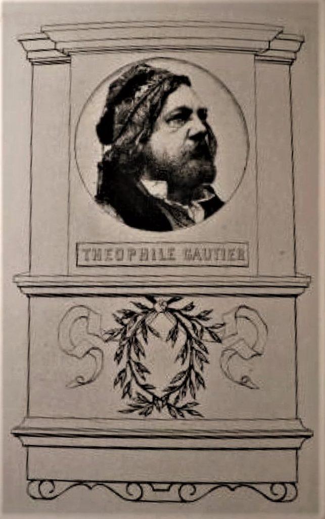 Félix Bracquemond, 1IE-1874-24-10, Portrait de M. Th. Gautier (le Tombeau). Now: 1873, B50-4, Le tombeau de Théophile Gautier, etch, 35x26, NYPL (iR10;iR61;R2,p119;R90II,p16;R85,no50)