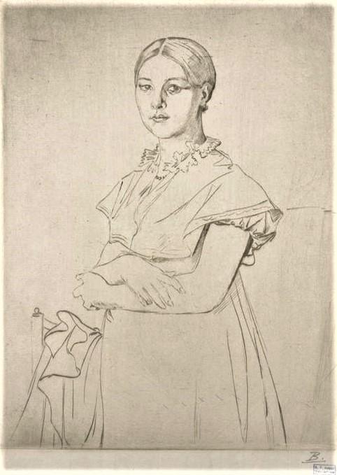 Félix Bracquemond, 1IE-1874-24-12, portrait de Madame Granger, d'après Ingres. Now: 1867, B56-1, Madame Granger, d'après Ingres, etch, 28x20, Metropolitan (iR61;iR10;Mx;R2,p119;R90II,p17;R85,no56)