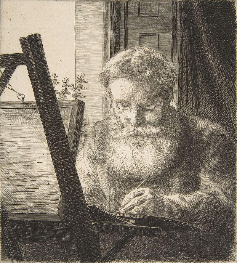 Félix Bracquemond, 1IE-1874-24-4, Portrait de M Edwards. Now: 1872, B38, Edwin Edwards, etch, 16x15, BNF Paris (iR6;R73,p45;R2,p119;R90II,p15)