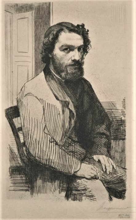 Félix Bracquemond, 1IE-1874-24-7, Portrait de M A Legros. Option 2: 1861, B73-1, Alphonse Legros, etch, 32x22, NSW Sydney (iR61;iR6;iR10;R85,no73;R90II,p16;R2,p119)