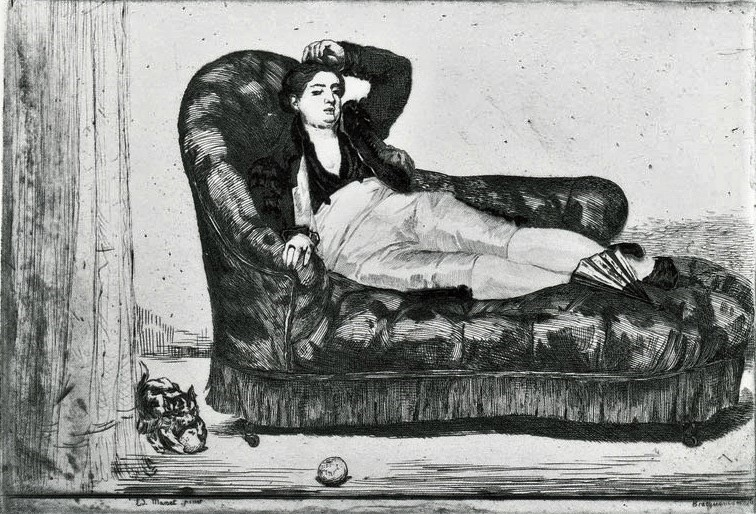 Félix Bracquemond, 1IE-1874-25-3, Le Divan. Now: 1863, B279, Young Woman Reclining, in Spanish Costume (after Manet), etch, 30x42, Yale New Haven (iR10;iR135;R2,p119;R90II,p17;R87,p232)