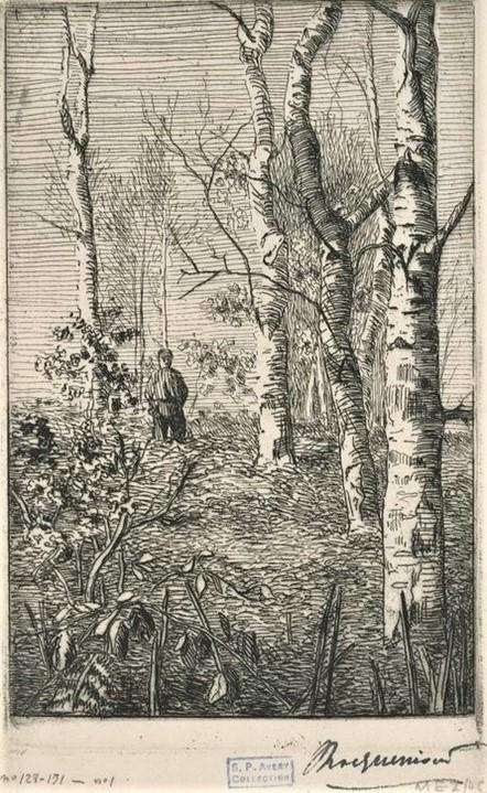 Félix Bracquemond, 1IE-1874-26-4, Les Bouleaux. Maybe: 1853, B128, Trois bouleaux avec un enfant (three birch trees with a child), etch, 13x9, private (iR61;R52,p49;R2,p119)