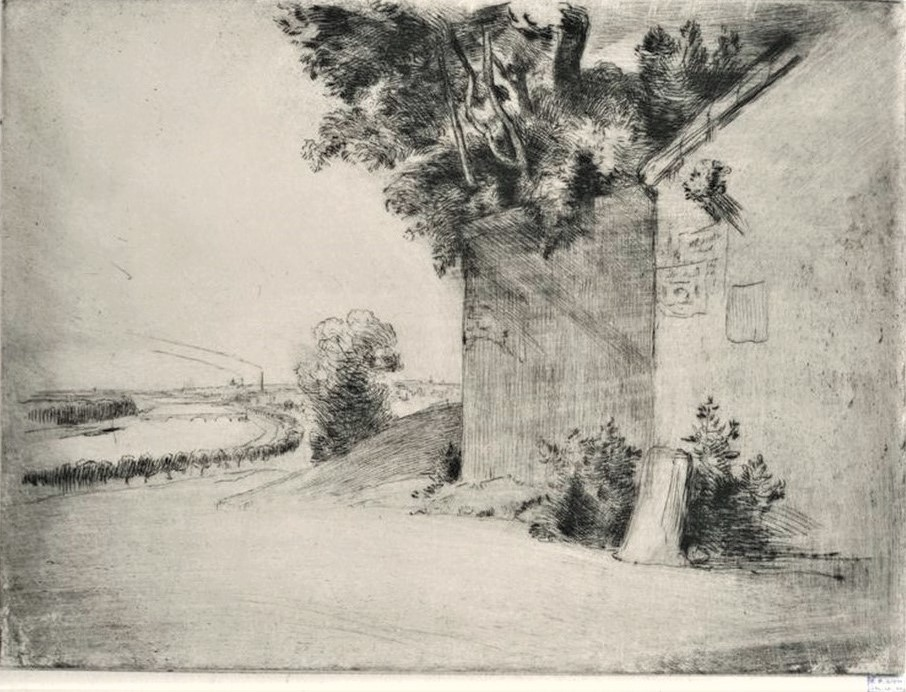 Félix Bracquemond, 1IE-1874-26-6, Le Mur. Now: 1868, B183, La Seine près de Passy (The Seine near Passy), etch ps, 24x31, BNF Paris (iR61;R73,p43;R2,p119;R90II,p19)