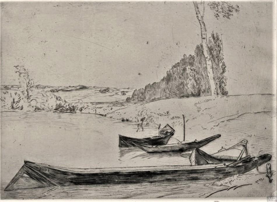 Félix Bracquemond, 1IE-1874-26-7, Les Bachots. Now: 1858ca, B161, Bachots au bord de la Seine, (Boats on the banks of the Seine), drypoint etch, 25x35, BNF Paris (iR61;R52,p73;R73,p37;R2,p119;R90II,p18)