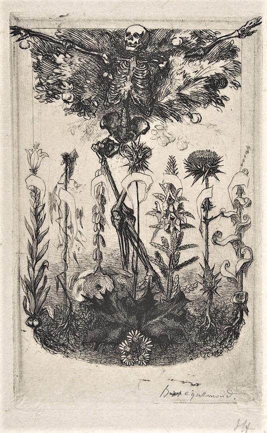Félix Bracquemond, 1IE-1874-27-2, Frontispice pour les Fleurs du mal. Maybe: 1861, B378-2, Unpublished frontispiece for Baudelaire's Les Fleurs du Mal, etch 18x12, Metropolitan (iR6;R73,p37;R2,p119;R90II,p19;R85,no378)