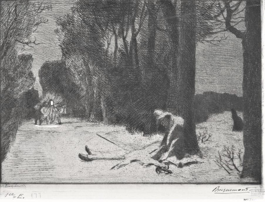 Félix Bracquemond, 1IE-1874-27-5, La mort de matamore (Capitaine Fracasse). Now: 1852-82, B177, La mort de Matamore (sujet tiré du Capitaine Fracasse), etch, 16x23, BNF Paris (iR61;R2,p119;R90II,p20)