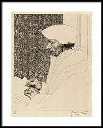 Félix Bracquemond, 1IE-1874-28-1, Portrait d'Erasme (d'après Holbein; premier état). Now: 1863, B39, Didier Erasme, etch 1st, 39x30, Louvre (iR10;iR48;iR42;R2,p119;R90II,p20)