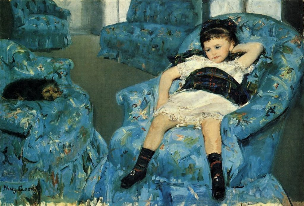 Mary Cassatt, 4IE-1879-47, Portrait de petite fille. Maybe: 1878, CR56, Portrait of a Little Girl (in a blue armchair), 89x129, NGA Washington (iR2;iR59;R44,p53;R3,p592;R90II,p126;R187,no56;R2,p267). Compare: S1877-R.