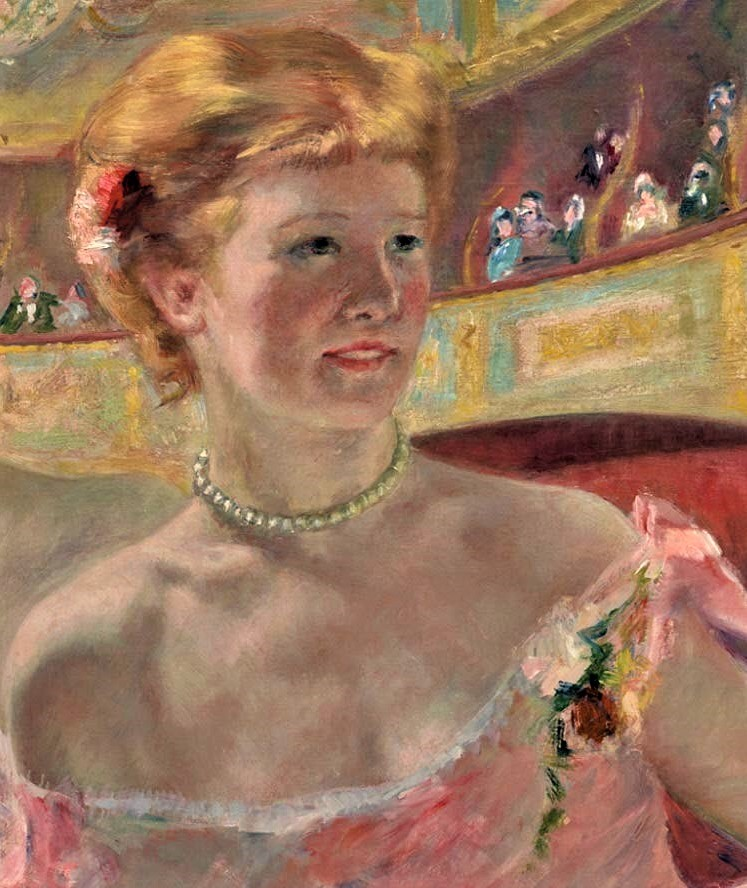 Mary Cassatt, 4IE-1879-49 Femme dans un loge. Now: 1879, Woman with a Pearl Necklace (in a Loge; detail), 81x59, Philadelphia MA