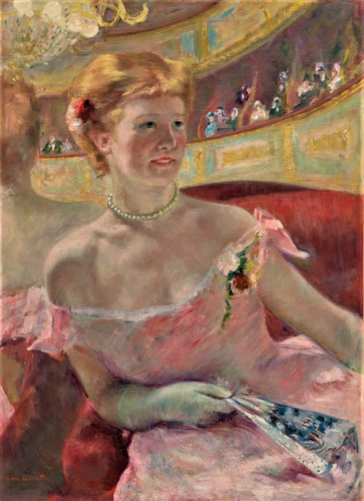 Mary Cassatt, 4IE-1879-49, Femme dans un loge. Now: 1879, CR64, Woman with a Pearl Necklace (in a Loge), 81x59, Philadelphia MA (iR92;iR2;iR3;iR8;R2,p276;R90II,p127;R187,no64). Compare: 5IE-1880-25.