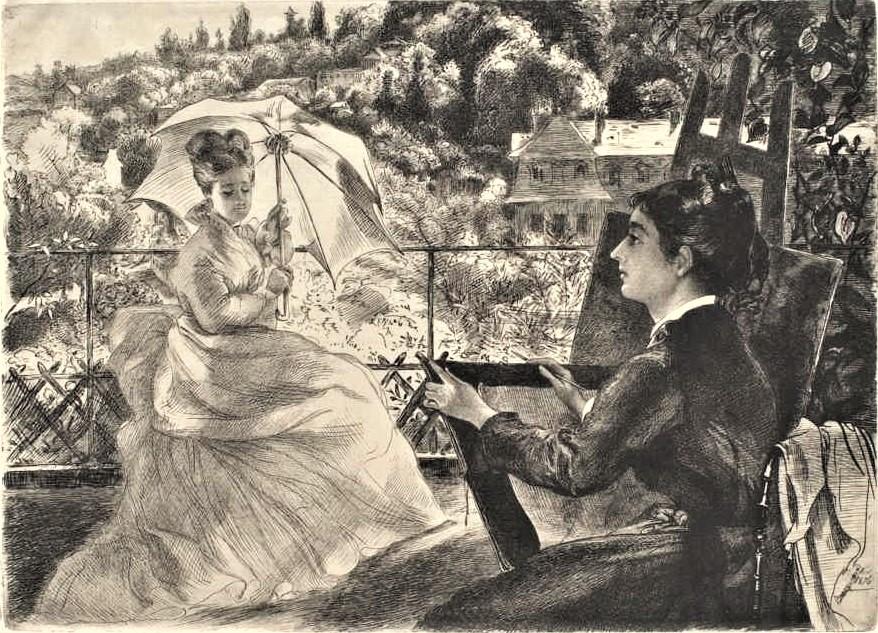Félix Bracquemond, 4IE-1879-5, (Beraldi215), Une terrasse de Sèvres. Now: 1876, CR215, Terrace of the Villa Brancas (Marie Bracquemond painting in Sèvres), etch, 23x36, CAI Williamstown (iR6;R73,p48;R90II,p121;R2,p266)
