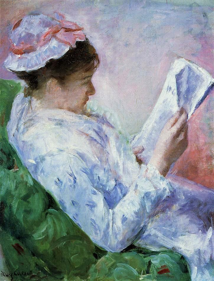 Mary Cassatt, 4IE-1879-52, femme lisant. Now: 1878-79, CR51, woman reading, 82x60, JAM Omaha (iR2;iR10;iR5;R2,p277;R90II,p127;R187,no51).
