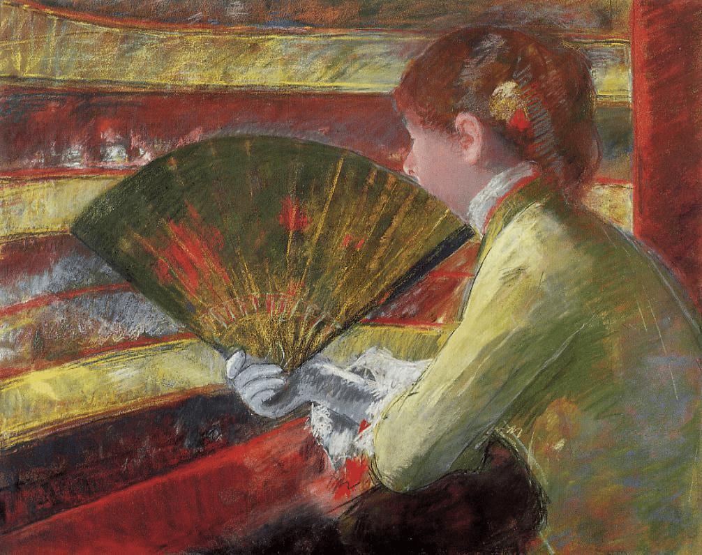 Mary Cassatt, 4IE-1879-54, Au théâtre (pastel). Perhaps: 1879, CR61, Theater (in the loge), pastel +metallic paint, 65x81, Philadelphia MA (iR59;R90II,p109+127;R84,p307;R187,no61;R2,p267)