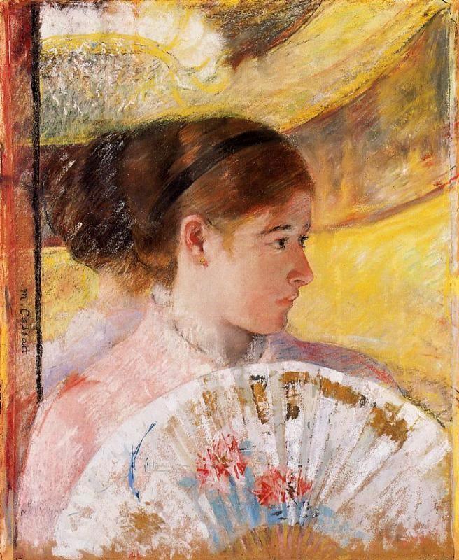 Mary Cassatt, 4IE-1879-55, Au théâtre (pastel). Perhaps: 1878-80, CR72, At the theatre, gouache + pastel, 65x54, private (iR59;R90II,p109+127;R187,no72;R2,p267)