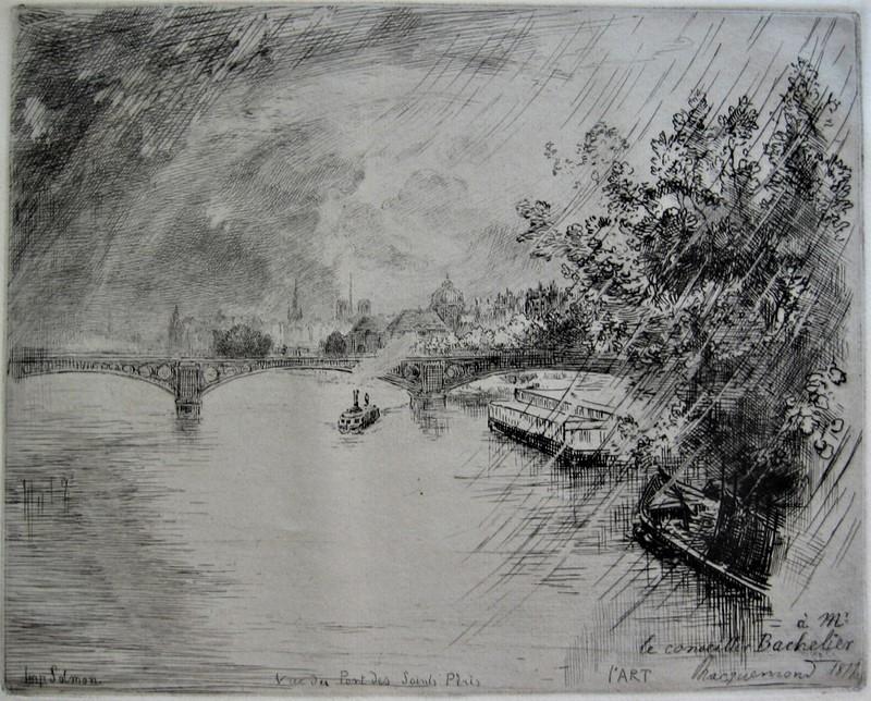 Félix Bracquemond, 4IE-1879-6, Une vue de pont des Saints-Pères). Now: 1877, (Beraldi 217-3), Vue du Pont des Saints-Pères, etch, 20x25, BN Paris (iR10;R73,p48;R90II,p122;R2,p266)