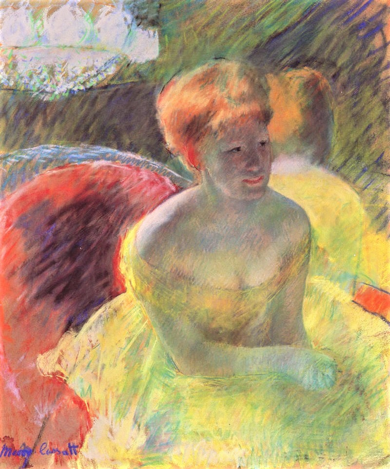 Mary Cassatt, 5IE-1880-22, Au théâtre. Now: 1879ca, CR63, Lydia Leaning on Her Arms, Seated in Loge (at the theatre), pastel, 55x46, NAMA Kansas (iR3;R2,p304;R44,p59;R90II,p161;R187,no63)