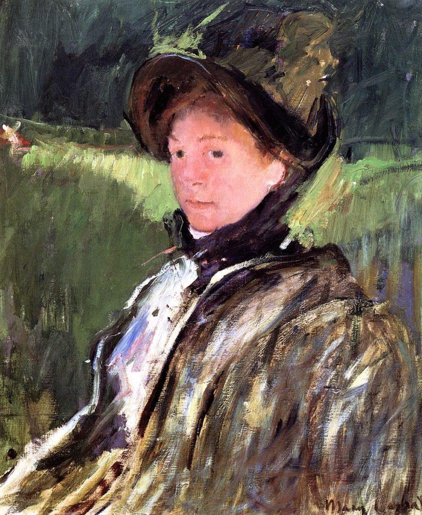 Mary Cassatt, 5IE-1880-23, Portrait de Mme C. Uncertain: 1880, CR97, Lydia Cassatt in a Green Bonnet and a Coat, 50x60, private (iR92;iR10;R2,p311;R187,p62)