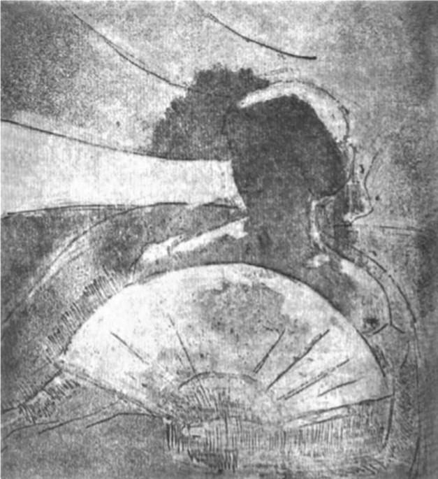 Mary Cassatt, 5IE-1880-25-1, Femme au théâtre, premier état. Compare: 1879-80, CR22, In the Opera Box (no.3), etch 2nd, 21x19, private (R84,p238;iR59;R90II,p147+161;R188,no22;R2,p311). Compare: 4IE-1879-49.