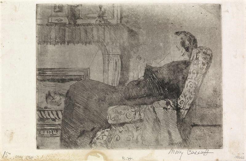 Mary Cassatt, 5IE-1880-29, au coin du feu. Option 1: 1882ca, before the fireplace (no.1) , etch, 16x21, A2014/09/23 (R188,no64)