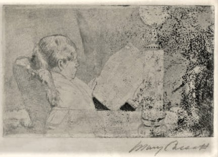 Mary Cassatt, 5IE-1880-31, Le soir. Maybe(??): 1882ca, Reading the newspaper, etch, 14x22, A2007/10/30 (R188,no72)