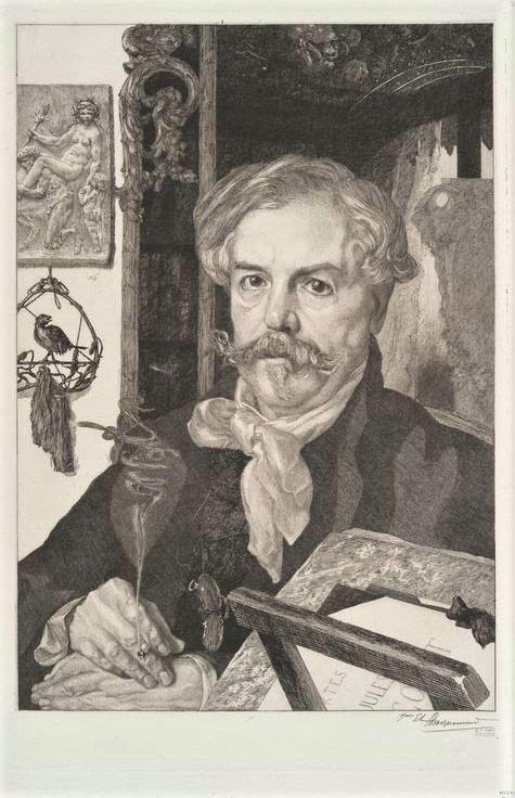 Félix Bracquemond, 5IE-1880-4, Portrait de M. Ed. de Goncourt. Compare: 1880, Portrait of Edmond de Goncourt, charcoal (?), 55x38, Louvre (iR6;iR1;R2,p318;R90II,p159;R85,no54). Compare: SdAF-1881-4603 + XX-1885-1.