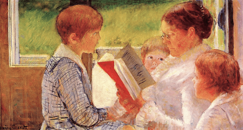 Mary Cassatt, 6IE-1881-1, La lecture. Now: 1880, CR77, Mrs Cassatt Reading to Her Grandchildren, 56x100, private (iR2;iR59;iR92;R44,p71;R2,p349;R90II,p179+189;R2,p353;R187,no77)