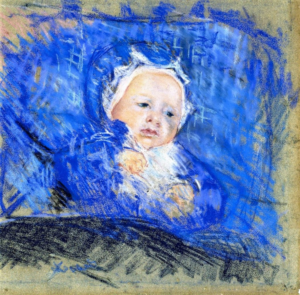 Mary Cassatt, 6IE-1881-11, Tête d'enfant, pastel. Very uncertain: 1881, CR132, Child on a Blue Cushion, pastel, 44x43, ML Baden (iR92;iR2;R187,p77;R2,p353)