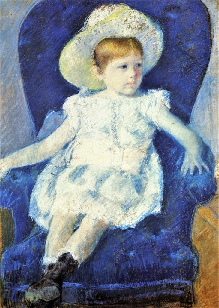 Mary Cassatt, 6IE-1881-11, Tête d'enfant, pastel. Very uncertain: 1880, CR86, Elsie in a Blue Chair, pastel, 88x63, private (iR92;iR2;R187,p59;R2,p353)