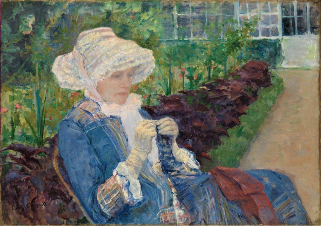 Mary Cassatt, 6IE-1881-2, Le jardin, Now: 1880, CR98, Lydia crocheting in the garden at Marly, 66x94, Metropolitan (iR92;iR2;iR59; R2,p358;R90II,p179+189;R189,no98;R3,p596)