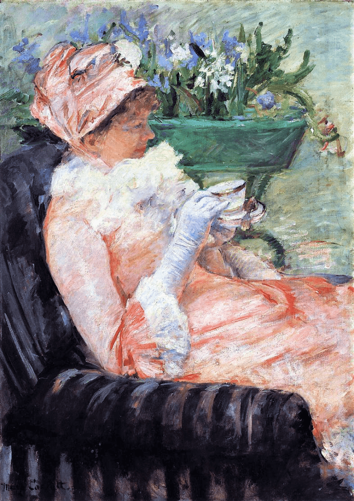 Mary Cassatt, 6IE-1881-4, Le thé. Now: 1879-81ca, CR65, The Cup of Tea, 92x65, Metropolitan (iR2;iR59;iR92;R2,p359;R90II,p179+189;R187,no65;R44,p66)