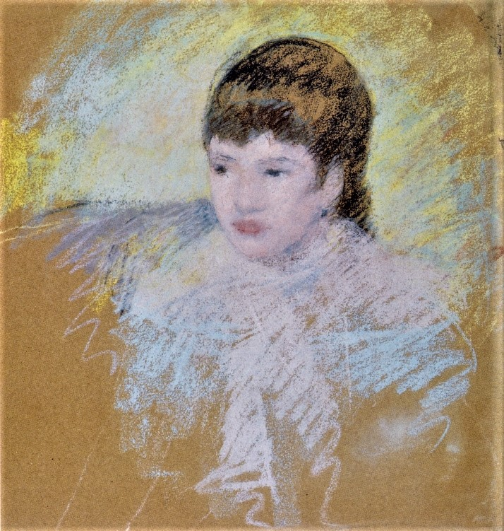 Mary Cassatt, 6IE-1881-6, Tête de jeune fille, pastel. Very uncertain: 1880-86ca, Young Girl with Brown Hair, pastel, 52x49, private