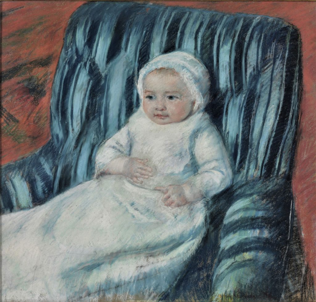 Mary Cassatt, 6IE-1881-7, Tête d'enfant, pastel. Very uncertain: 1880-81, CR53, Madame Bérard's Baby in a Striped Armchair, pastel, 63x67, Philadelphia MA (iR92;R187,p45;R2,p353)