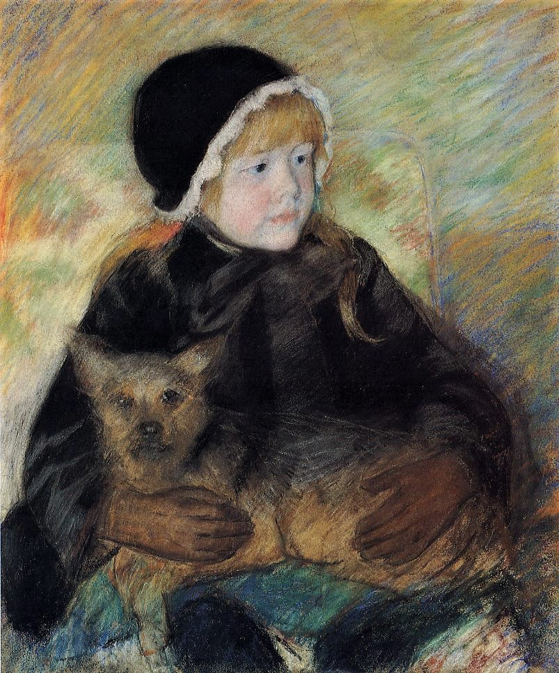 Mary Cassatt, 6IE-1881-9, Portrait d'enfant, pastel. Very uncertain: 1880ca, CR58, Elsie Cassatt Holding a Big Dog, pastel, 64x50, private (iR92;iR2;R187,no58;R2,p353)