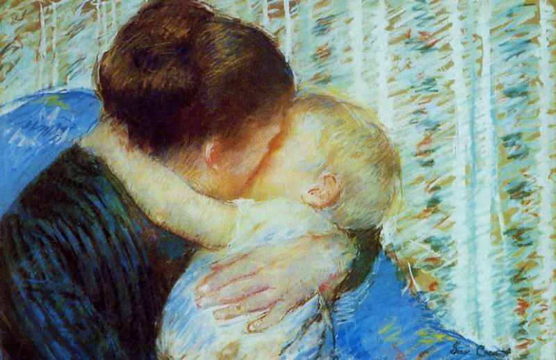 Mary Cassatt, 8IE-1886-13, Mère et enfant, pastel. Very uncertain: 1880, CR88, Mother and Child (a goodnight hug), pastel, 42x61, A2018/05/14 (iR2;iR59;iR13;iR92;R2,p444;R187,no88). Compare: 6IE-1881-8.