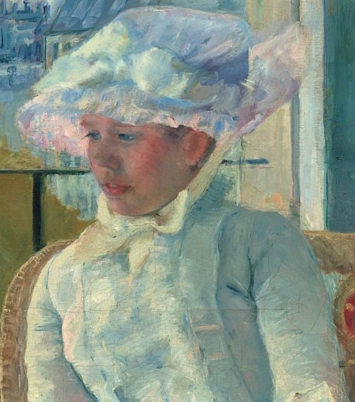 Mary Cassatt, 8IE-1886-7, Jeune fille à la fenêtre. Now: 1883-4ca, Susan (young girl) on a balcony holding a dog (detail), 100x65, NGA Washington