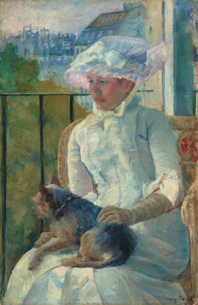 Mary Cassatt, 8IE-1886-7, Jeune fille à la fenêtre. Now: 1883-4ca, CR125, Susan on a balcony holding a dog , 100x65, NGA Washington (iR92;iR2;iR59;R2,p449;R90II,p257;R44,p23)