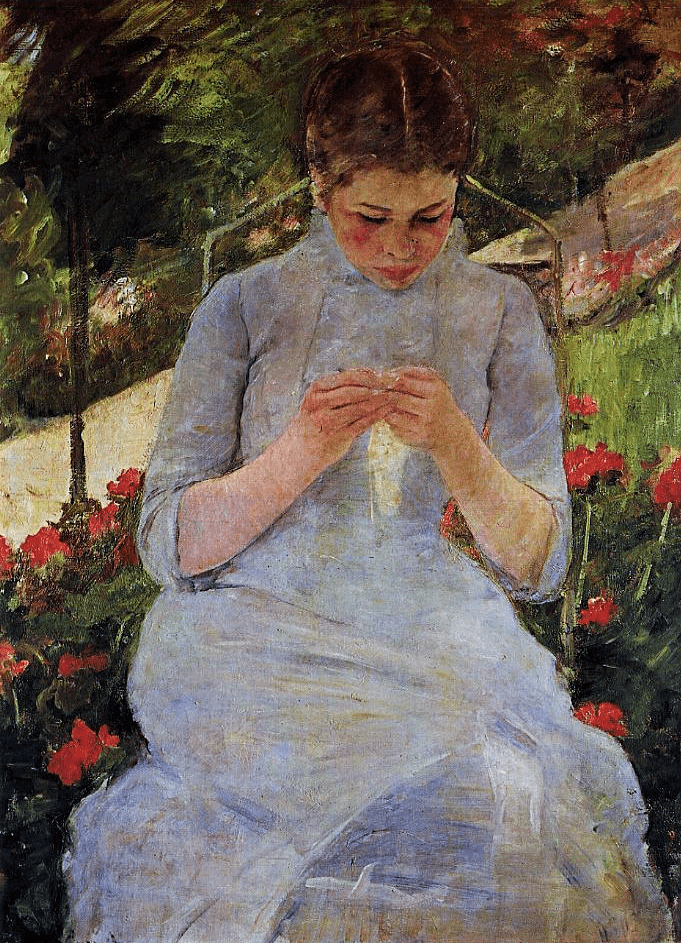 Mary Cassatt, 8IE-1886-8, Jeune fille au jardin. Now: 1880-6ca, CR144, Young Woman Sewing in a Garden, 92x65 Orsay (iR2;iR59;iR92;R90II,p239+257;R2,p444;R44,p89;R3,p594)