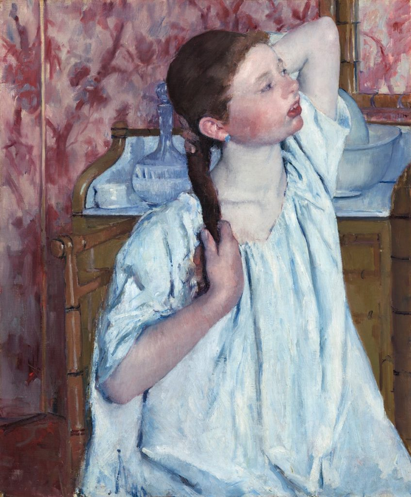 Mary Cassatt, 8IE-1886-9, Étude. Now: 1886, CR146, Girl arranging Her Hair, 76x62, NGA Washington (iR92;iR2;iR59;R2,p450;R90II,p239+257;R44,p91)
