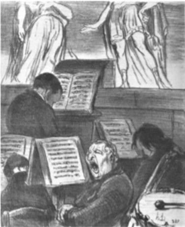 Daumier, 1852, the orchestra during the performance of a tragedy, litho, 16x22, Metropolitan (aR2,p166). Degas collection.
