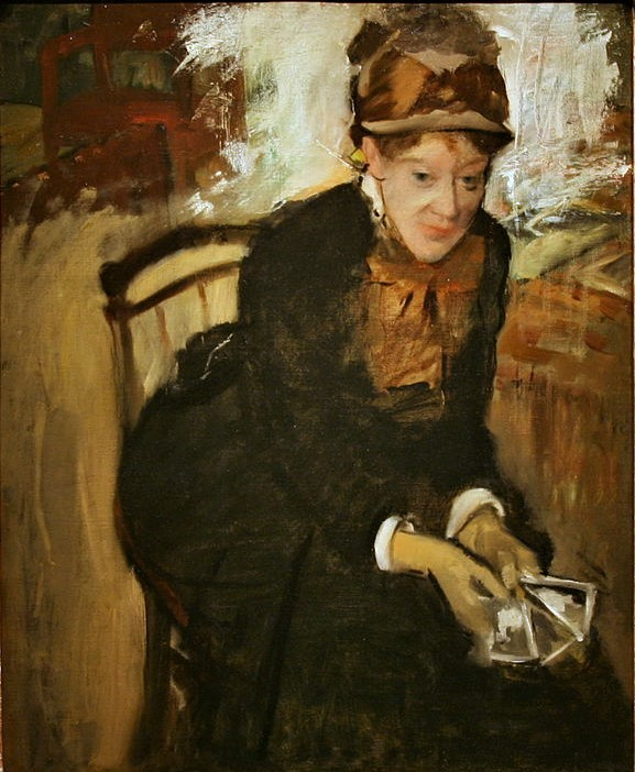 Edgar Degas, 1880-4ca, Mary Cassatt Seated, Holding Cards, 72x59, NPG Washington