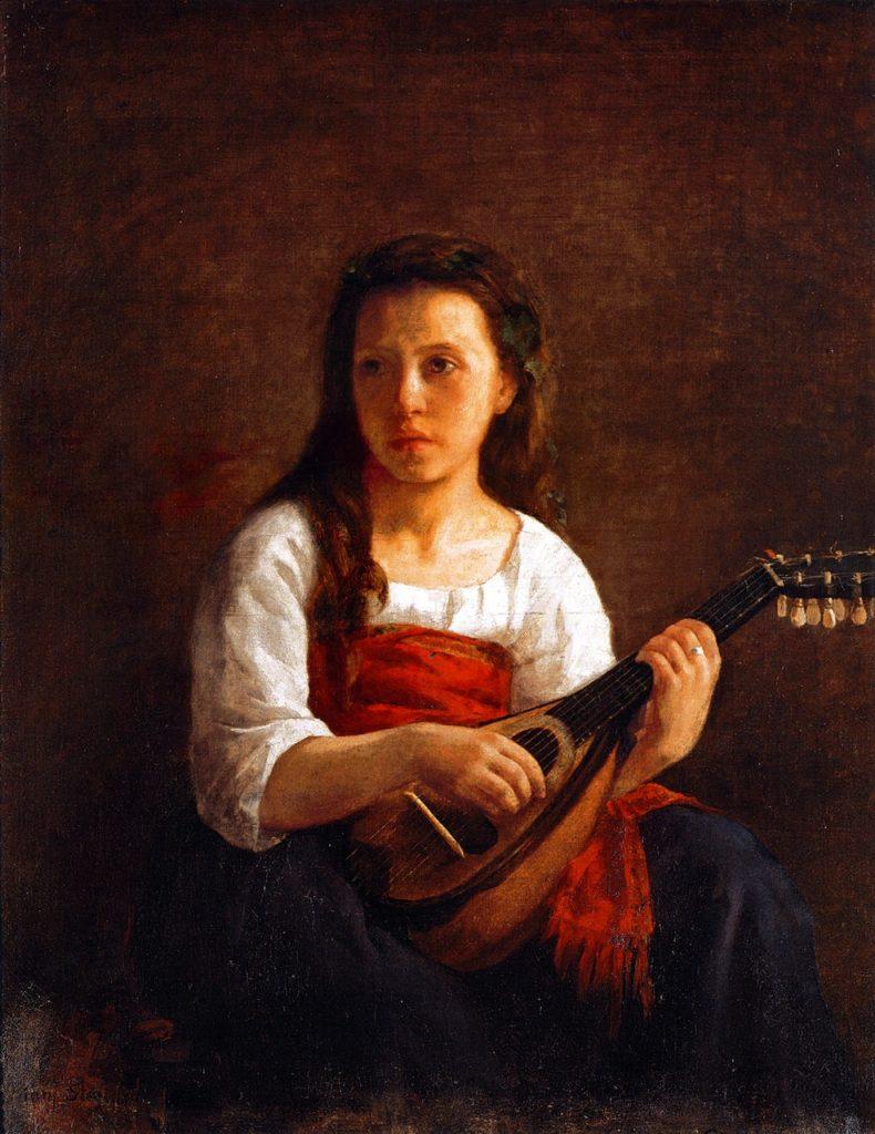 Mary Cassatt, S1868-2335, Mary Stevenson, La mandoline. Maybe: 1868, CR17, The Mandolin Player, 92x74, private (iR2;iR92;R44,p7;R187,p34)