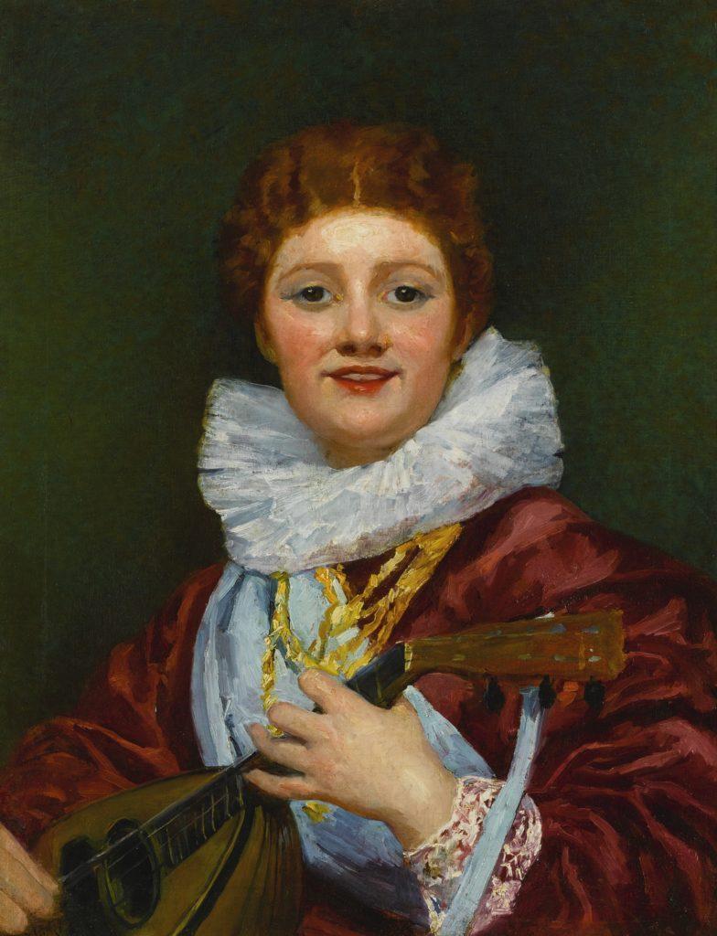 Mary Cassatt, S1868-2335, Mary Stevenson, La mandoline. Compare: 1869ca, young woman wearing a ruff, 81x63, A201704/07 (iR92;iR13;iR1)