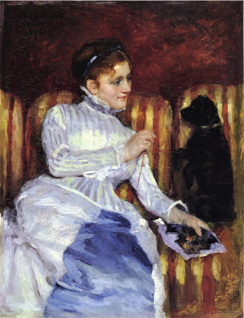Mary Cassatt, S1875-R. Very uncertain: 1875, CR45, Young Woman on a Striped Sofa with Her Dog, 33x41, FAM Cambridge (iR92;iR1;R187,no45;R44,p14).