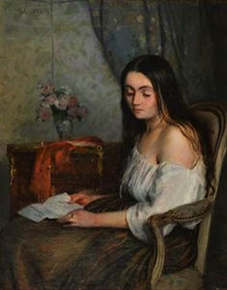 Adolphe-Félix Cals, 1853, La Rupture (portrait de jeune fille à la lettre, 41x33, A2013/06/28 (iR10;iR64;iR13)