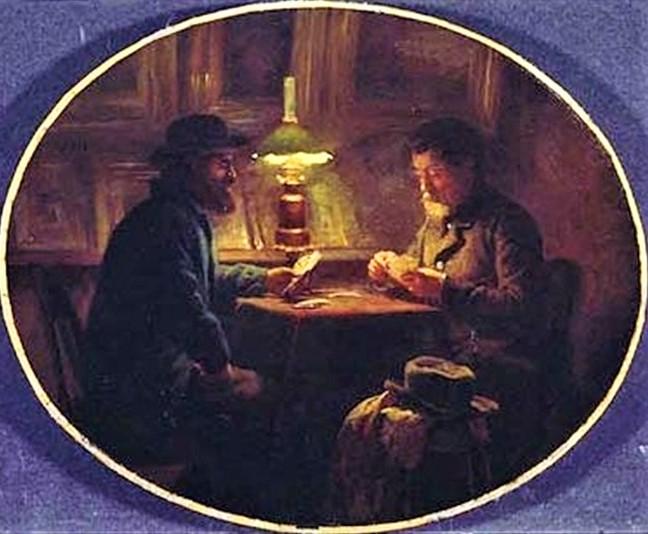 Adolphe-Félix Cals, S1864-2070, La partie de dominos; dessin. Compare: 1859, Card game at 'le père Martin', 50x61, xx (iR11;iR1;iR6;iR35).